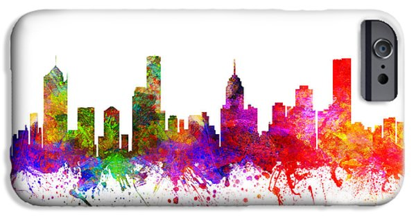 Australia Drawings iPhone Cases - Melbourne Australia Cityscape 02 iPhone Case by Aged Pixel