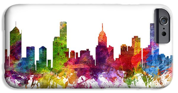 Australia Drawings iPhone Cases - Melbourne Australia Cityscape 06 iPhone Case by Aged Pixel