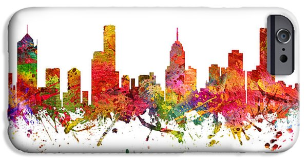 Australia Drawings iPhone Cases - Melbourne Australia Cityscape 08 iPhone Case by Aged Pixel