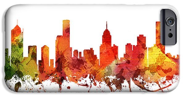 Australia Drawings iPhone Cases - Melbourne Cityscape 04 iPhone Case by Aged Pixel
