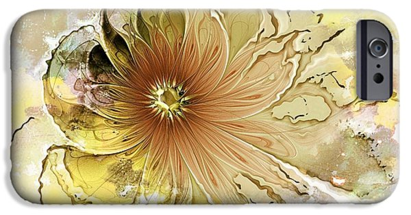 Fractals Fractal Digital Art iPhone Cases - Mellow Yellow iPhone Case by Amanda Moore