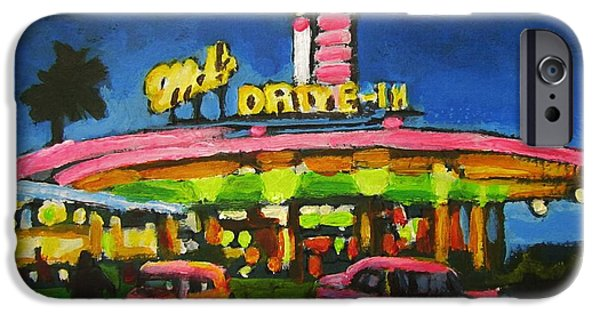City Scape Drawings iPhone Cases - Mels Drive In One iPhone Case by John Malone