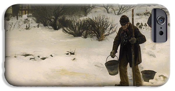 Water Retrieve iPhone Cases - Melting Snow iPhone Case by H A Brendekilde