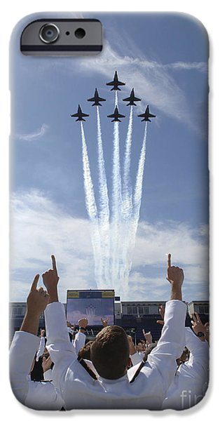 Angel Blues iPhone Cases - Members Of The U.s. Naval Academy Cheer iPhone Case by Stocktrek Images