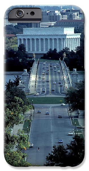 Lincoln iPhone Cases - Memorial Bridge and Lincoln Memorial iPhone Case by Carl Purcell
