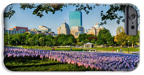 American Flag iPhone Cases - Memorial Day in Boston iPhone Case by Larry  Richardson