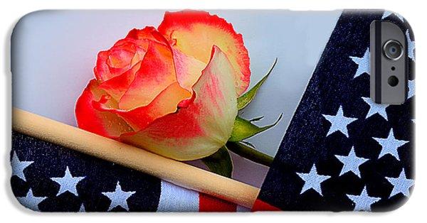 American Flag iPhone Cases - Memorial Day Rose and American Flag iPhone Case by Thanh Do Nguyen