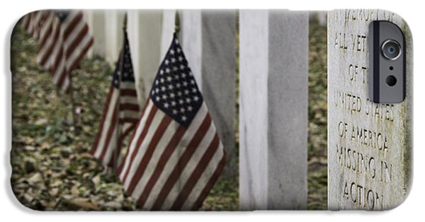 Flag iPhone Cases - Memorial for MIA Veterans iPhone Case by Jeannette Hunt