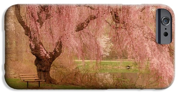 Park Scene Digital Art iPhone Cases - Memories - Holmdel Park iPhone Case by Angie Tirado