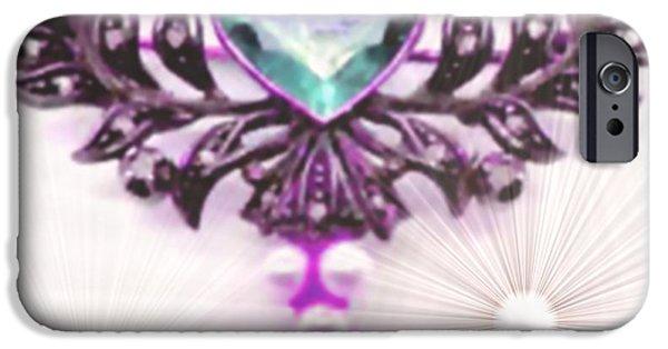Abstract Digital Pastels iPhone Cases - Memories of Grandmas Brooches no. 13 H b iPhone Case by Gert J Rheeders