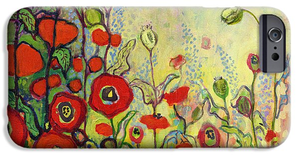 Hollyhock iPhone Cases - Memories of Grandmothers Garden iPhone Case by Jennifer Lommers