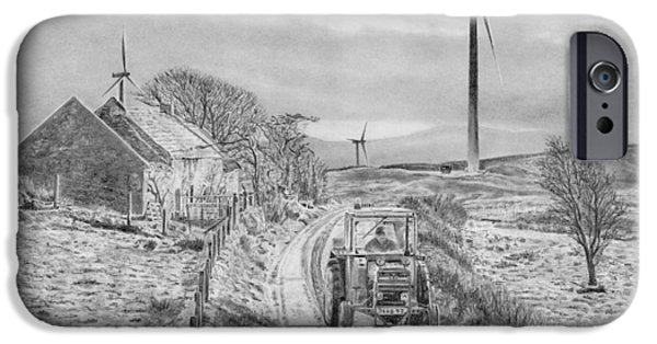 Ruin iPhone Cases - Memory Lane Co Derry Ireland Pencil drawing iPhone Case by Dave Irving
