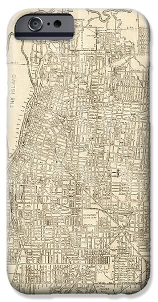 Old Digital Art iPhone Cases - Memphis Tennessee Antique Vintage City Map iPhone Case by ELITE IMAGE photography By Chad McDermott