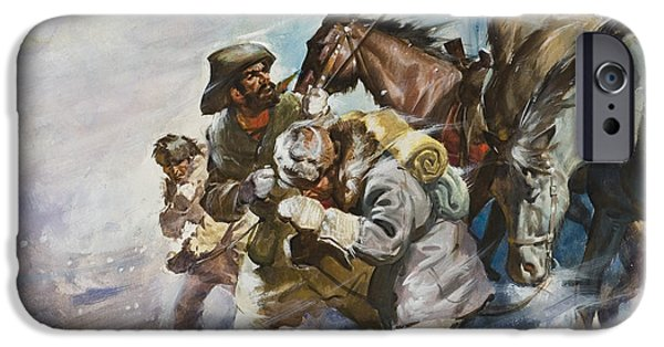 Harsh Conditions iPhone Cases - Men and Horses Battling a Storm iPhone Case by James Edwin McConnell