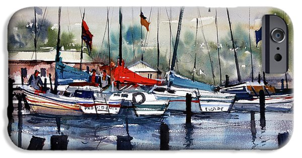 Chicago Paintings iPhone Cases - Menominee Marina iPhone Case by Ryan Radke