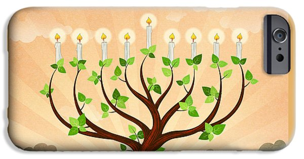 Chanukah iPhone Cases - Menorah Tree iPhone Case by Bedros Awak