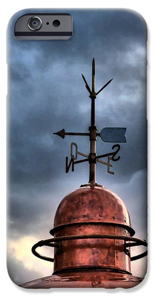 Lighthouse iPhone Cases - Menorca copper lighthouse dome with lightning rod under a bluish and stormy sky iPhone Case by Pedro Cardona