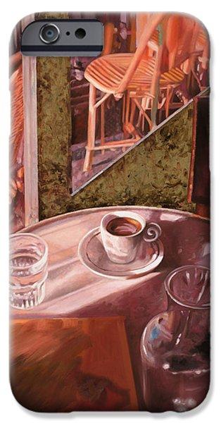Brasserie iPhone Cases - Mentre Ti Aspetto iPhone Case by Guido Borelli