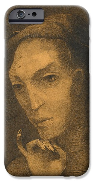 20th Drawings iPhone Cases - Mephistopheles iPhone Case by Odilon Redon