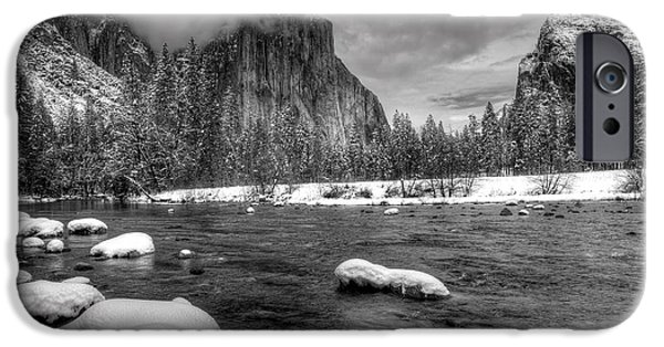 Snowy Day iPhone Cases - Merced River Yosemite iPhone Case by Brad Kazmerzak