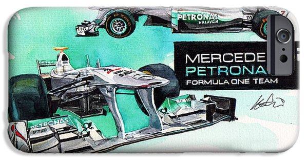 F 1 iPhone Cases - Mercedes AMG Petronas Formula-1 iPhone Case by Yoshiharu Miyakawa