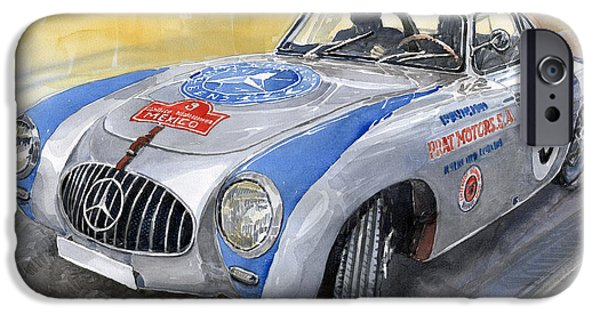Automotive Paintings iPhone Cases - Mercedes Benz 300 SL 1952 Carrera Panamericana Mexico  iPhone Case by Yuriy  Shevchuk