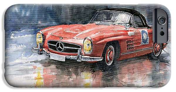 Auto iPhone Cases - Mercedes Benz 300SL iPhone Case by Yuriy  Shevchuk