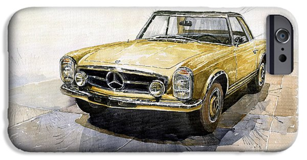 Cars iPhone Cases - Mercedes Benz W113 Pagoda iPhone Case by Yuriy  Shevchuk