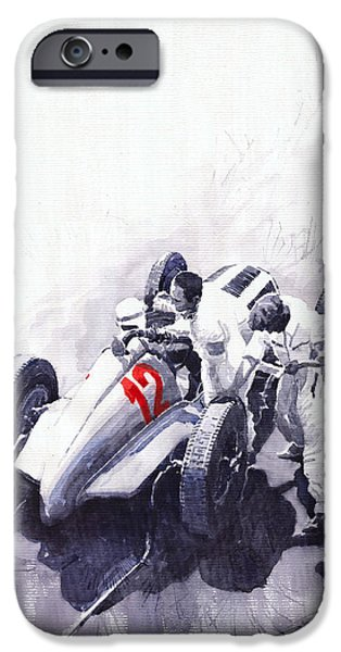 Automotive Paintings iPhone Cases - Mercedes Benz W125 Rudolf Caracciola the German Grand Prix Nurburgring 1937  iPhone Case by Yuriy  Shevchuk