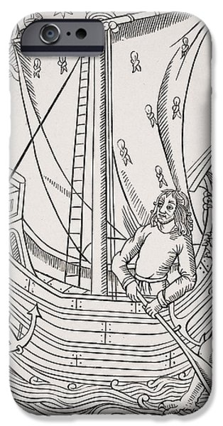 Jesus Drawings iPhone Cases - Merchant Vessel In A Storm. Facsimile iPhone Case by Ken Welsh
