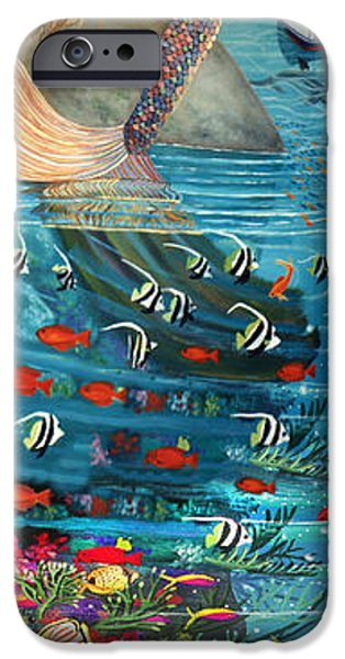 Triggerfish Paintings iPhone Cases - Mermaid In Paradise iPhone Case by Bonnie Siracusa