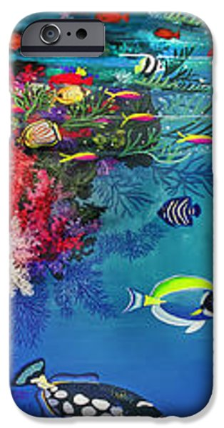 Triggerfish Paintings iPhone Cases - Mermaid In Paradise Complete Underwater Descent iPhone Case by Bonnie Siracusa