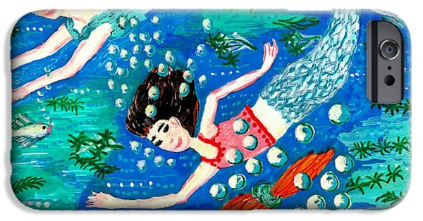 Illustrations Ceramics iPhone Cases - Mermaid race iPhone Case by Sushila Burgess