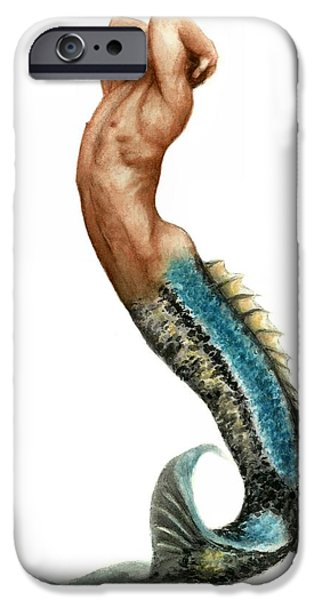 Bruce Paintings iPhone Cases - Merman iPhone Case by Bruce Lennon