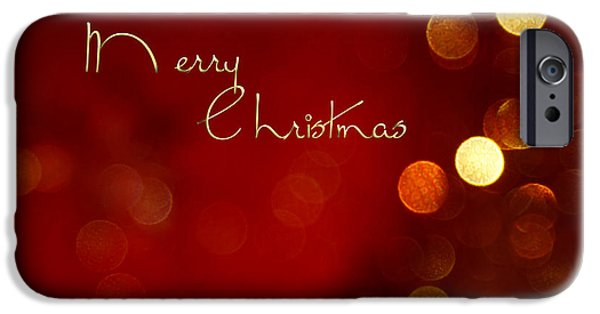 Christmas Card Photographs iPhone Cases - Merry Christmas Card - Bokeh iPhone Case by Aimelle