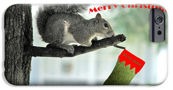 Animal Cards Digital iPhone Cases - Merry Christmas To All iPhone Case by Adele Moscaritolo
