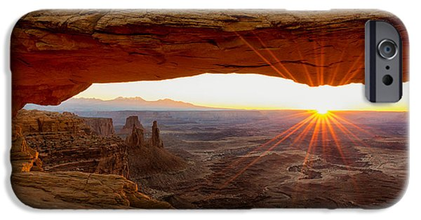 Landmarks Photographs iPhone Cases - Mesa Arch Sunrise - Canyonlands National Park - Moab Utah iPhone Case by Brian Harig