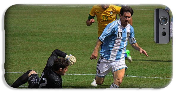 Clash Of Worlds iPhone Cases - Messi Breaking Ankles iPhone Case by Lee Dos Santos