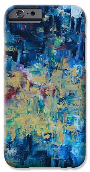 Pallet Knife Paintings iPhone Cases - Messy Ocean iPhone Case by Joanna Georghadjis