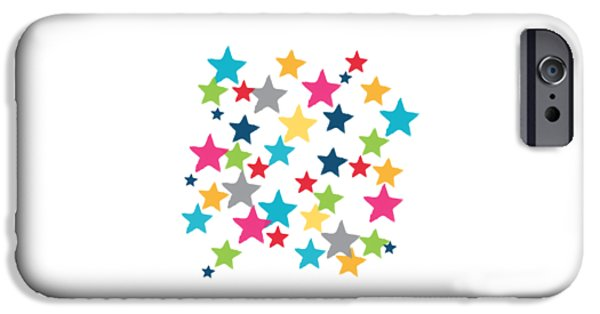 Celebration Paintings iPhone Cases - Messy Stars- Shirt iPhone Case by Linda Woods