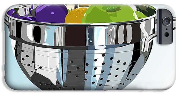 Stainless Steel iPhone Cases - Metal colander and fruit iPhone Case by Debra Baldwin