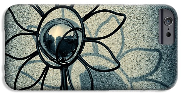 Reflective iPhone Cases - Metal Flower iPhone Case by Dave Bowman