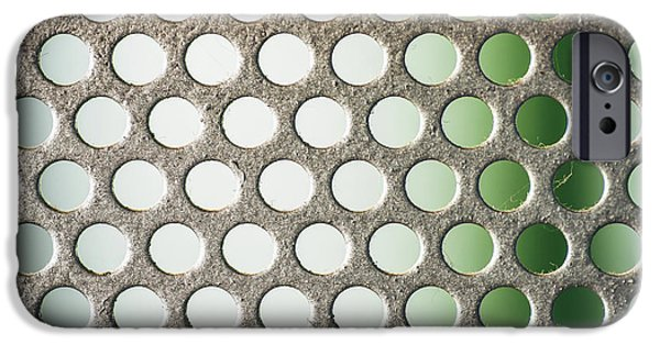 Sheets iPhone Cases - Metal plate with many small circular holes macro texture background iPhone Case by Eduardo Huelin
