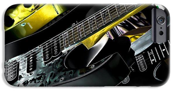 The Kingpins iPhone Cases - Metallic Guitars iPhone Case by David Patterson