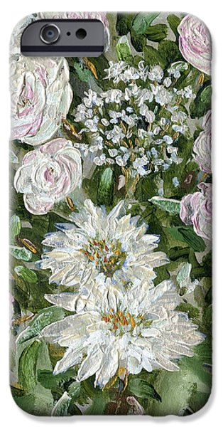 Metallica Paintings iPhone Cases - Metallica Roses and Mums iPhone Case by Thomas Michael Meddaugh