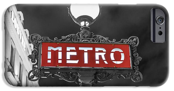 Night Lamp iPhone Cases - Metro sign in Black and White Paris iPhone Case by World Art Photography
