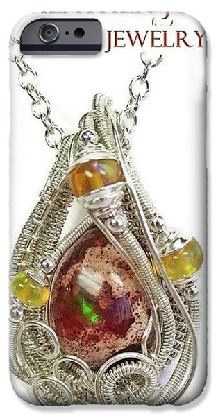 Jordan Jewelry iPhone Cases - Mexican Cantera Opal Pendant in Sterling Silver with Ethiopian Welo Opals CMFOSS2 iPhone Case by Heather Jordan