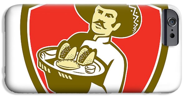 Waiter Digital iPhone Cases - Mexican Chef Cook Serving Taco Plate Shield iPhone Case by Aloysius Patrimonio
