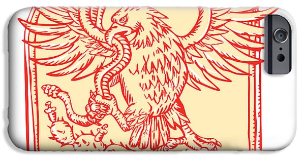 Drawing Of Eagle iPhone Cases - Mexican Eagle Devouring Snake Etching iPhone Case by Aloysius Patrimonio
