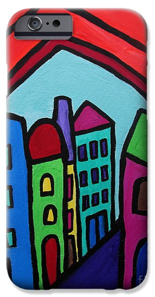 Church Pillars Paintings iPhone Cases - Mexican Pueblo I iPhone Case by Pristine Cartera Turkus